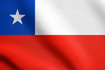 Flag of Chile waving with fabric texture
