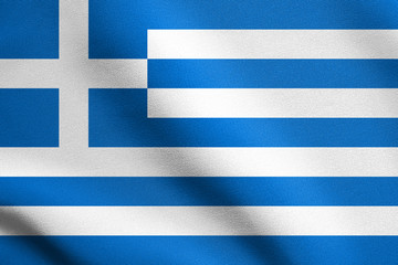 Flag of Greece waving with fabric texture