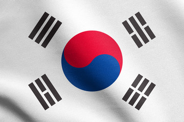 Flag of South Korea waving with fabric texture