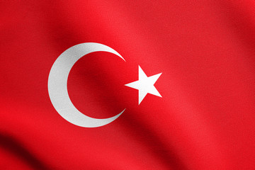 Flag of Turkey waving with fabric texture