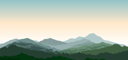Landscape with mountains. Nature background.  Vector countryside view with forest, field and hills