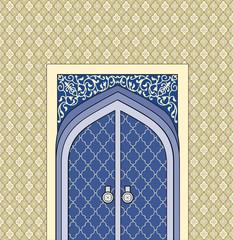 Door in muslim oriental house facade. Arabic building facade