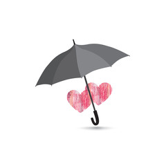 Two love herats over umbrella isolated over white background.