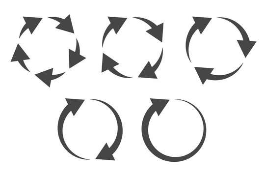 Repetitive process icon with circular arrows explanation. Icon reflect renewable energy, recycling, repeatable industry and business processes.