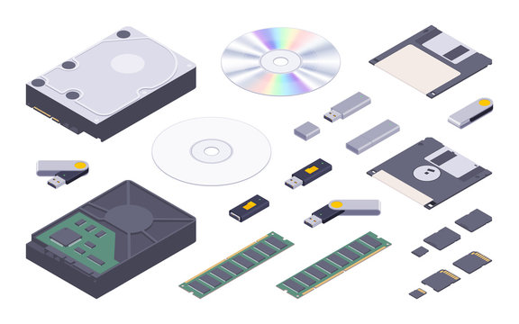 Isometric flat digital memory storages set. The objects are isolated against the white background and shown from two sides