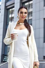 Beautiful sexy woman brunette long hair wear luxury brand