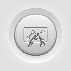 Teamwork Icon. Grey Button Design.