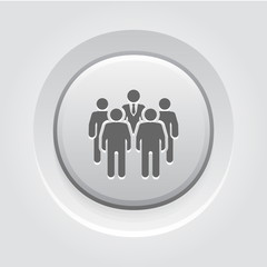 Meeting Icon. Grey Button Design.