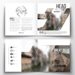 Set of annual report business templates for brochure, magazine, flyer or booklet. Polygonal background, blurred image, urban landscape, modern stylish triangular vector texture