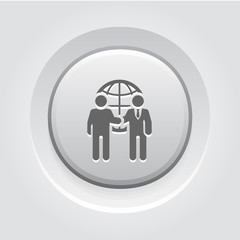 Business Meeting Icon. Grey Button Design.