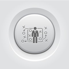 Tactics Icon. Grey Button Design.