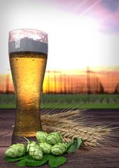 glass of beer with hop-garden background - 3D render