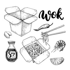 Wok vector drawing with lettering. Isolated chinese box and chop