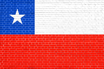Flag of Chile on brick wall texture