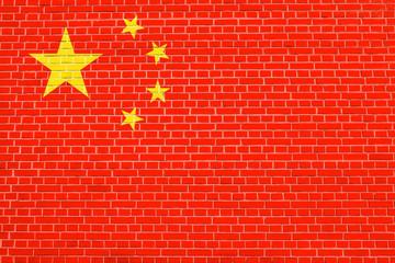 Flag of China on brick wall texture