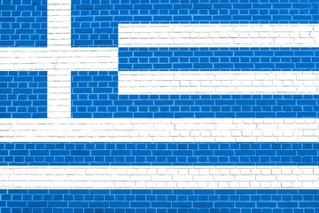 Flag of Greece on brick wall texture