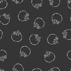 Vector seamless pattern hand drawn brush line chalk white tomato on black background