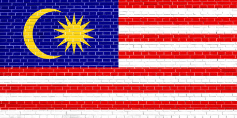 Flag of Malaysia on brick wall texture