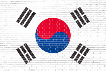 Flag of South Korea on brick wall texture