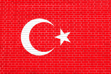Flag of Turkey on brick wall texture