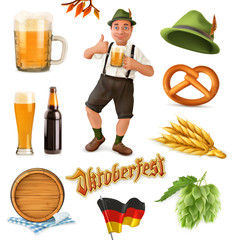 Munich Beer Festival Oktoberfest. Funny cartoon characters and objects. Vector icon set
