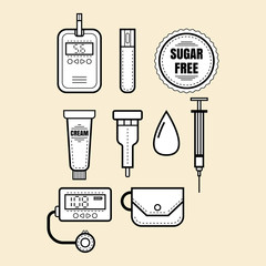 Diabetes. Set of linear icons, objects. Glucometer, insulin
