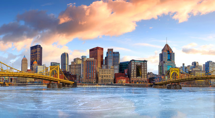 Wall Mural - Skyline of downtown Pittsburgh at twilight