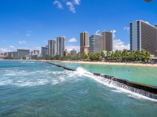 Beautiful Waikiki beach in Honolulu, Hawaii.