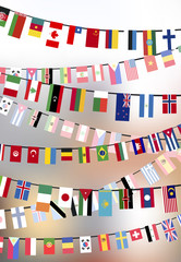 Countries flags hangs on the ropes