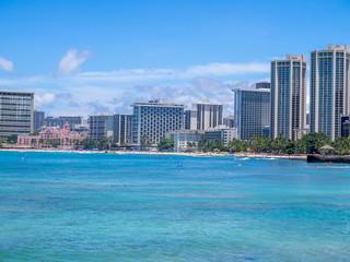 Beautiful Waikiki beach in Honolulu, Hawaii.