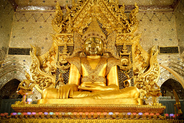 Golden Buddha in Temple at Myanmar.