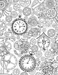 Coloring book page with mechanical details and old clocks