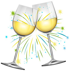 Two wine glasses and firework background