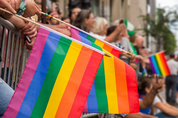 Gay rainbow flags at Montreal gay pride parade with blurred spectators in background