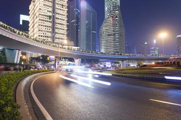 Shanghai city road light trails