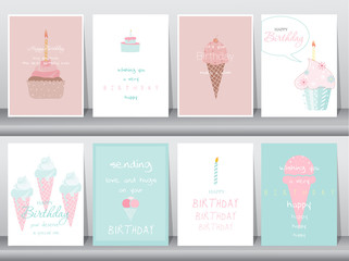 Set of birthday cards,poster,template,greeting cards,cake,ice cream,Vector illustrations