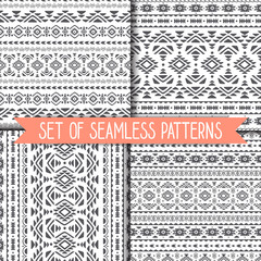 Set of 4 geometric seamless patterns in black and white. Vector .