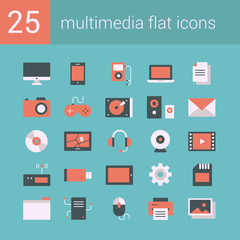 Set of 25 vector flat icons on a light-blue background
