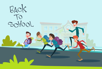 Children Group Run Back to School Education Concept