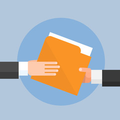 Hands Give Folder Document Papers, Concept Businessmen Share Information Data Icon