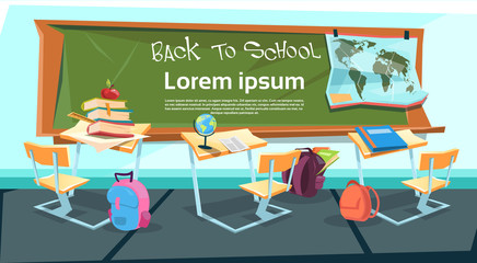 Empty Classroom Desk With Books Bag Back To School Education Banner