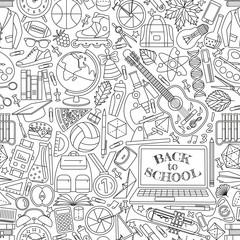 Back to school seamless pattern. Vector illustration.
