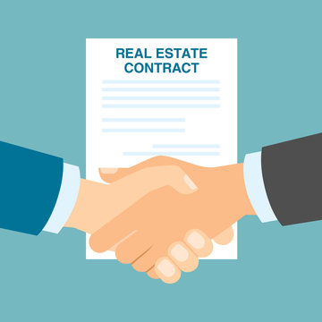 Real estate contract handshake. Good agreement in buying new property. Future investments.
