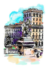 freehand watercolor travel card from Rome Italy, old italian imp