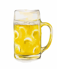 Watercolor beer glass on white background. Concept of bar, pub, beer demonstration and Oktoberfest.