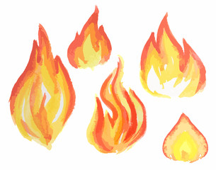 Watercolor flame set. Different kids of flames and fire. Fire element. Light, heat and danger.