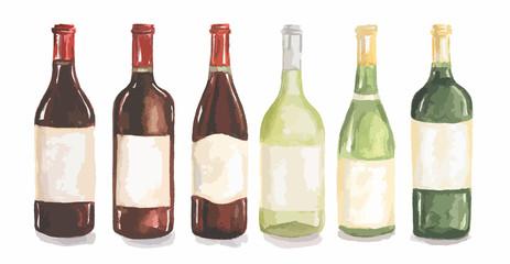 Watercolor wine bottles set. Beautiful bottles for decoration menu in restaurant or cafe. Alcoholic beverage.