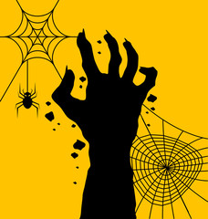 Zombie hand with  spider web for halloween