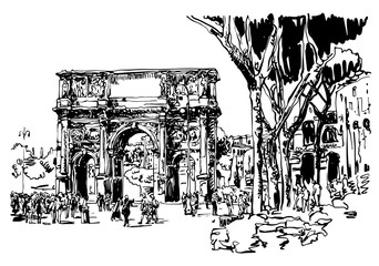 sketch digital drawing Rome Italy landmark - arch of Konstantine
