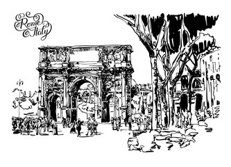 arch of Konstantine (Arco Constantino) sketch drawing